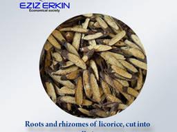 Корни и корневища солодки, резанные мелкими кусочками